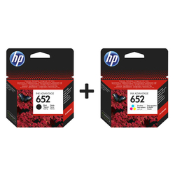 HP - Hp 652-F6V24AE Renkli Orjinal Kartuş + Hp 652-F6V25AE Siyah Orjinal Kartuş Seti